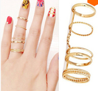 Punk rock gothic gold plated plain scroll knuckle midi finger knuckle full finger long joint rings