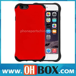 Wholesale price for iphone 6 armor case red plastic+silicone accept paypal
