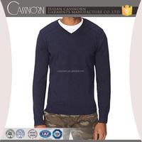 100% cotton V-neck knit fabric pullover men sweater 2015