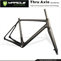 MIRACLE Newest Full carbon cyclocross frame,frame cyclo cross Disc brake & V-brake 142*12mm thru axle Chinese CX Road Bike Frame