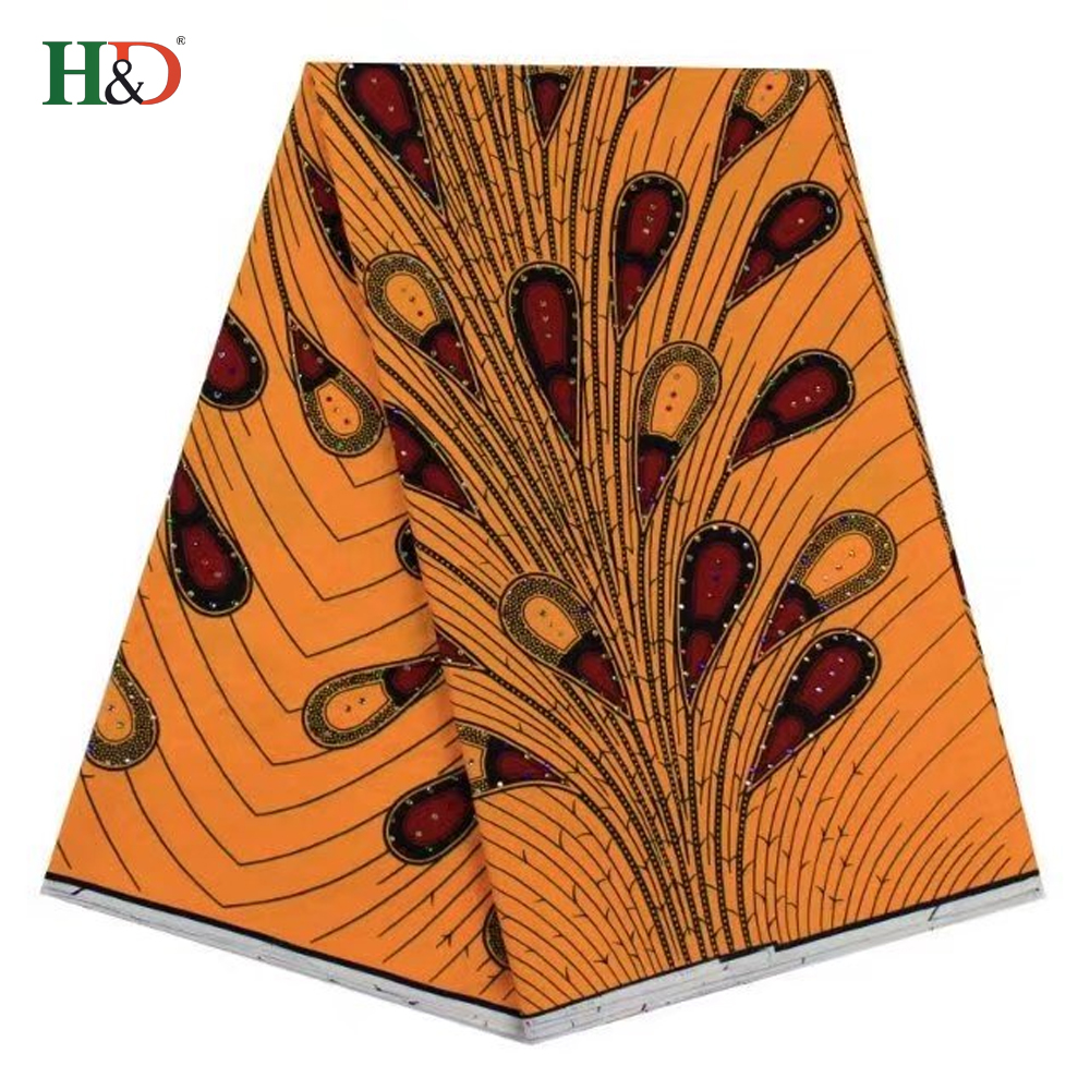 H & D Top Spandex Coton Africain Imprimer Véritable Super Cire Tissu Perlé Ankara Pour Vente
