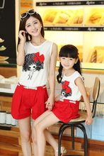 FIG casual summer new portrait of mother and daughter mother and child to wear two-piece models