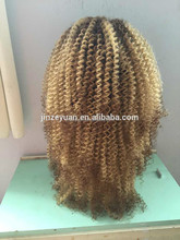 2015 new products 6A grade kinky curl synthetic hair full lace wig