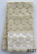 Beige color Latest design Nylon mesh/nylon net/nylon lace fabric for wedding and party