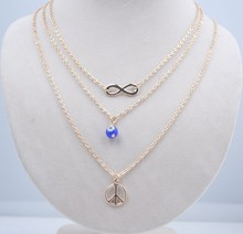 2015 key trend layering jewelry gold thin chainces boho metal bar pendant necklace three layer beads layering necklace