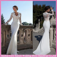 WD9076 New design with great price long sleeve white sheer back closed buttons mermaid brush train wedding dresses