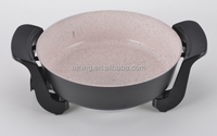 5L Round Electric Pot With Glass lid And Ceramic Marble Coating