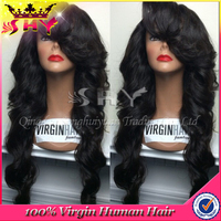 "26"" body wave brazilian virgin hair full lace wig with baby hair in stock"
