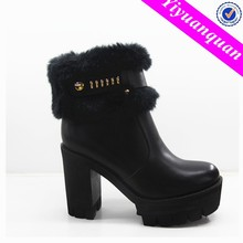 Black High Heel Boots for Women with Fur