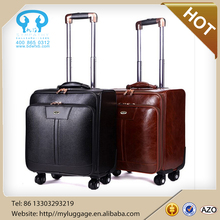 Hot selling pu leather trolley travel luggage with wheels