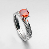Yiwu Aceon Stainless Steel Curved Surface Ruby Diamond Engagement Ring ebay jewelry