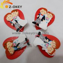 hot sale Wedding fashion decorations with the image of Bride and Bridegroom wood fridge magnet Yiwu
