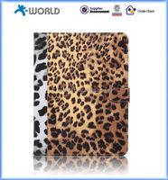 Leopard pattern leather case for ipad mini 4 with magnetic closure, hybrid leather case for ipad mini 4