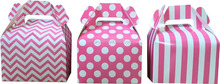 pink striped cheveron dots packing hand paper box for bake