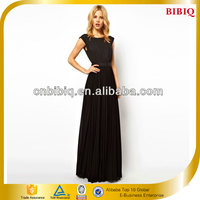 Black Long Maxi Dress Pleated Cutout Back Sexy Casual Dress Wholesale