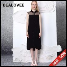 2015 mais recente moda preto sem mangas sólidos voile ocasional preço de fábrica verão mãe das rendas vestidos de noiva