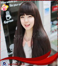 Excellent quality new design Brazilian virgin human straight hair full lace wig with dense bang