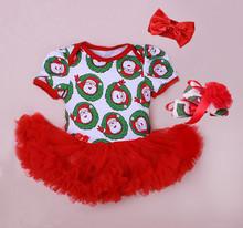 Boutique de roupas para crianças conjunto de roupas de bebê menina macacão com Headbands sapato de natal das crianças