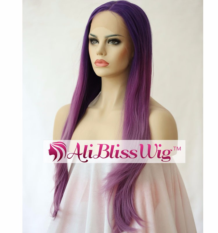 Multi Layered Haircuts Long Straight Purple Roots Three Tone Ombre