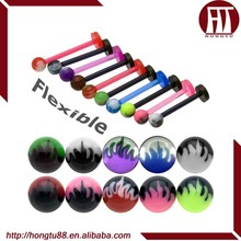 HT Hot Selling UV Acrylic Flexible Hot Flame Ball Monroe Labret Stud Lip Piercing Rings