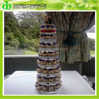 DDC-0093 ISO9001 Chinese Factory Wholesale SGS Non-toxic Test 8 Tiers Round Maypole Acrylic Cupcake Stand