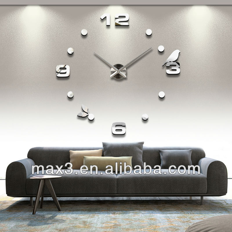 kreative gro e diy 3d digitalen spiegel aufkleber wanduhr. Black Bedroom Furniture Sets. Home Design Ideas
