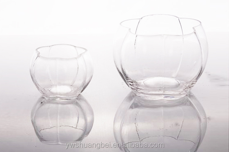 Wholesale Clear Unique Vases Pumpkin Shaped Round Glass Fish Bowl
