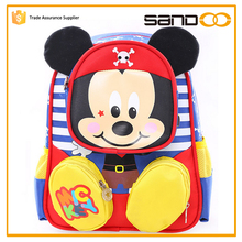 Free sample china factory sandoo 8 years child school bag of mickey mouse picture