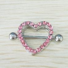 Heart Nipple ring Jewelry Clear Gem Stainless Steel Shield Sexy Body Piercing Jewelry