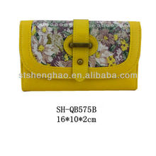 Yellow leather cloth embroidered Sequin Bronze Hardware female Wallet