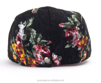 high quality customized flower printed beret cap