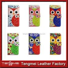 Cute Cartoon Owl Stand Wallet Flip pu Leather bumper case for htc desire eye