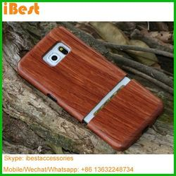 Ibest factory galaxy s6 real wood bamboo case natural wood mobile phone case for s6 edge best selling mobile accessories