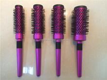colorful high quality aluminium barrel hair brush with metal handle