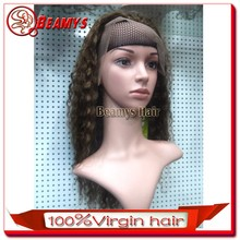 Top quality elastic band brazilian hair glueless full lace wig with bady hair