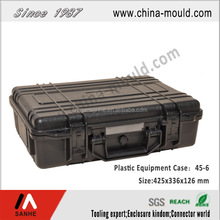 Black plastic equipment case with handle 425x336x126 mm