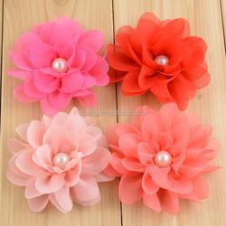 "Handmade Vintate 3"" Solid Chiffon Puff Flower,Scallop Chiffon Fabric Flower,chiffon decorative hair flower with pearl center"