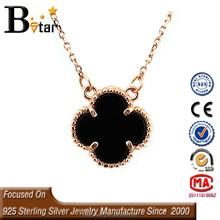 wholesale 925 silver four leaf clover necklace, black agate necklace