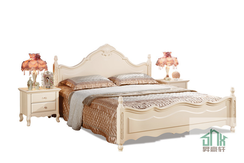 White wooden box bed design ha 823 wooden box bed wood for Double bed with box design