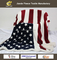 2015 New USA flag throw blanket 127x160cm Ultra Soft Luxury Double Velvet Coral fleece with Sherpa