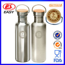 750ml BPA free ECO mirror finish heat preservation double wall 304 stainless steel sports water bottle custom with bamboo lid