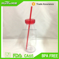 New Arrival AS Single wall 500ml Plastic Tumbler Bottle with Lid and Straw RH214-500