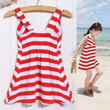 New Kids Girl's Wear Sleeveless Red and white Striped casual beach party wear dress SV020476