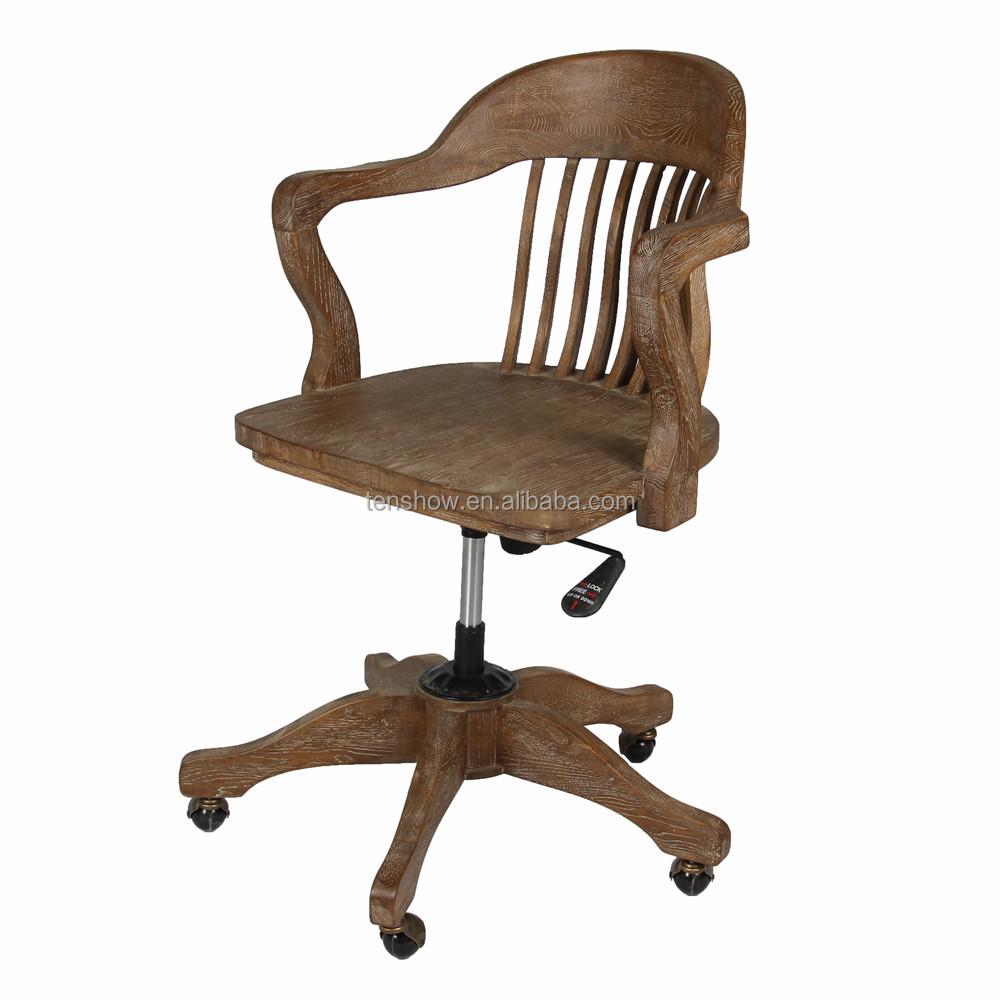 단단한 목재 사무용 의자, 고풍스러운 사무실 의자, 고풍스러운 ...