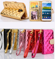 Shining wallet leather case for Samsung galaxy S5