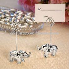Chrome Shiny Silver Elephant Place Card Holders as wedding favors