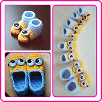 2015 new despicable me character minion pattern shoes handmade cotton knitted cartoon baby shoes
