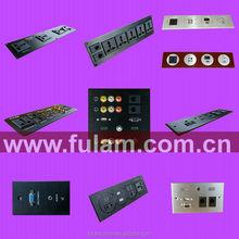 Aluminium type USB+HDMI+AV+VGA+RJ45+RJ11+AC Power Wall socket