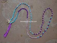 2015 JackTu turquoise&purple jade &square silver chunky beaded beads necklace