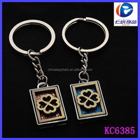 2014 promotion gift metal rectangle tags engraved flower lovers key chain